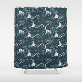 Lemurs walking and sitting in the forest I Shower Curtain