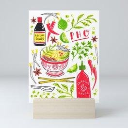 Vietnamese Pho Soup Sriracha Mini Art Print