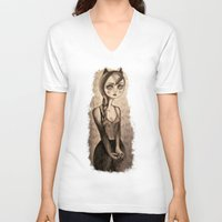 catwoman V-neck T-shirts featuring Catwoman by Anna Kavehmehr