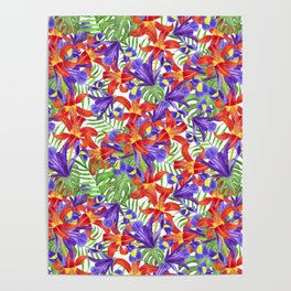 flowers lily iris palm leaves monstera tropical pattern Poster