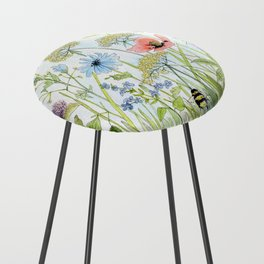 Floral Watercolor Botanical Cottage Garden Flowers Bees Nature Art Counter Stool