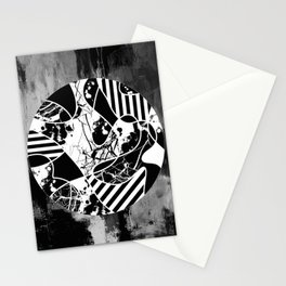 Circle Of Contrast - Black and white textured patterns, stripes, paint splats and marble Stationery Cards