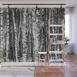 Beech Trees, White and Charcoal Gray / Grey Wall Mural