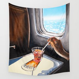 Glass in Airplane | Retro Mid Century | Mad Men Painting Wall Tapestry