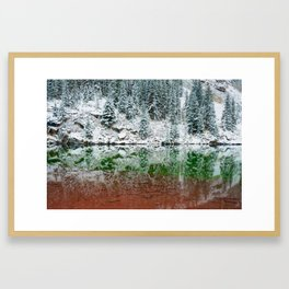Maroon Lake Winter Reflections - Aspen Colorado Framed Art Print