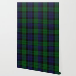 chainsaw blue & green - holiday and everyday black blue tartan black watch plaid check Wallpaper