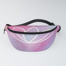Abstract pink blue aqua watercolor white floral Fanny Pack