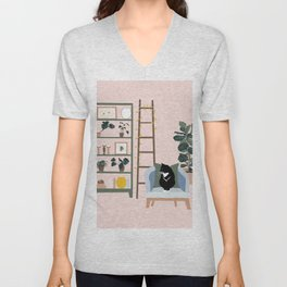 cat chilling out in the living room Unisex V-Neck