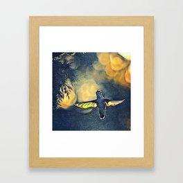 Golden Blue Hummingbird by CheyAnne Sexton Framed Art Print