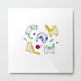 Cat Doodles Metal Print