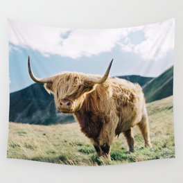 Portrait of a Highland Coo Wall Tapestry