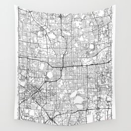 Orlando Map White Wall Tapestry