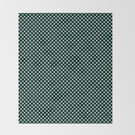 Black and Lucite Green Polka Dots Throw Blanket
