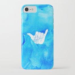 Surf Hang Loose Hawaiian Ocean Blue Hip Watercolor iPhone Case