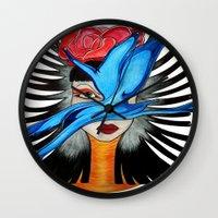 goddess Wall Clocks featuring Goddess by Miss Midnight