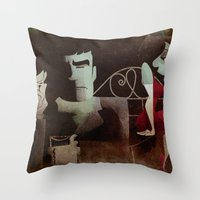 noir Throw Pillows featuring noir by michael lombardi