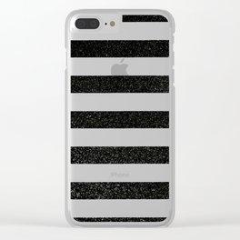 black glitter stripes Clear iPhone Case