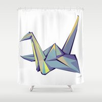 origami Shower Curtains featuring Origami by Daniela Castillo