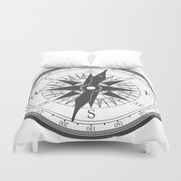 compass Duvet Covers featuring Compass by Ffrind