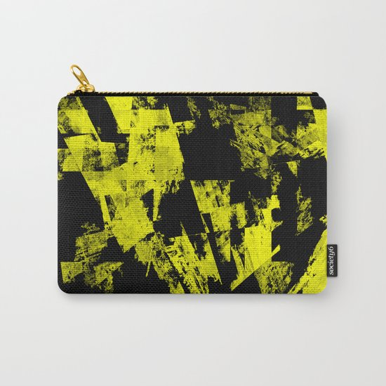 Fractured Warning - Black and yellow, abstract, textured painting Carry-All Pouch