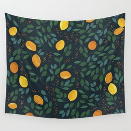 Lemon watercolor vintage pattern Wall Tapestry
