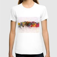 oakland T-shirts featuring Oakland skyline in watercolor background by Paulrommer