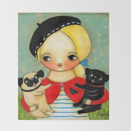 French girl with black pug and fawn pug Throw Blanket