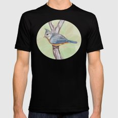 Grey-crested Tit Mens Fitted Tee SMALL Black