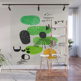 Mid Century Modern Abstract Vintage Colorful Shapes Patterns Lime Green Yellow Pebbles Wall Mural