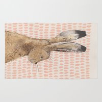 hare Area & Throw Rugs featuring Hare by stephanie cole DESIGN