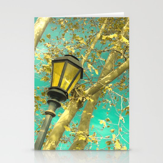 Autumn Gold Leafs in Turquoise Sky  Stationery Cards