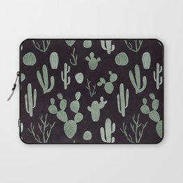Grey green cacti on deep violet Laptop Sleeve