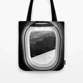 Window Seat // Scenic Mountain View from Airplane Wing // Snowcapped Landscape Photography Tote Bag