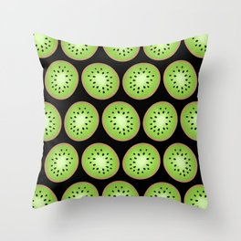 Kiwi Pattern  |  Black Background Throw Pillow