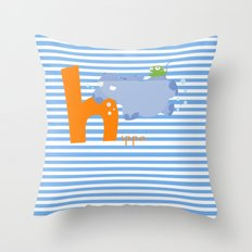 h for hippo Throw Pillow