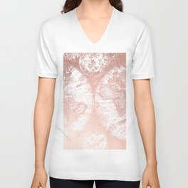 Rose Gold Pink Antique World Map by Nature Magick Unisex V-Neck