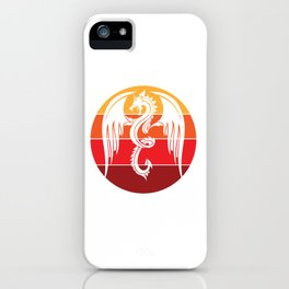 Angry Medieval Dragon and Retro Vintage Sunset  design iPhone Case