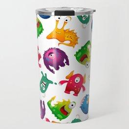 Colorful Cute Monsters Fun Cartoon Travel Mug