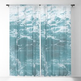 Tropic Beach Ocean Waves Sheer Curtain