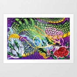 Dragon Of The Rose Art Print