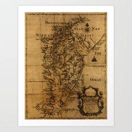 Map of Chesapeake Bay 1774 Art Print