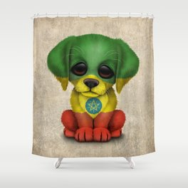 Cute Puppy Dog with flag of Ethiopia Shower Curtain