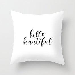 Hello Beautiful, Love Art, Couple Art Throw Pillow