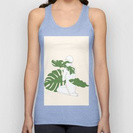 Woman with Monstera Leaves Unisex Tank Top