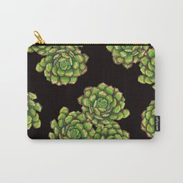 Green Succulents on Black Carry-All Pouch