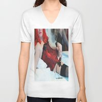 penis V-neck T-shirts featuring funny painting Transgender trannie BDSM fetish panty corset sex fuck penis cock dick woman man cute by Velveteen Rodent