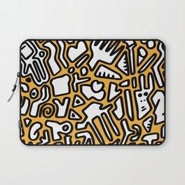 black doodle on orange Laptop Sleeve