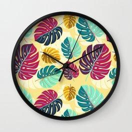 Monstera Delight Ink Print Wall Clock