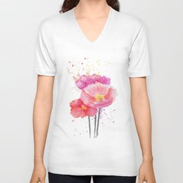 Colorful Watercolor Poppies Unisex V-Neck