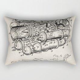 Airplane Jet Engine Patent - Airline Engine Art - Antique Rectangular Pillow